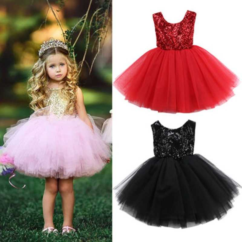 CANIS 2018 Baby Girls Bridesmaid Dress Baby Flower Sequined Kids Party Prom  Wedding Dresses Princess 1 b81eb2346ee0