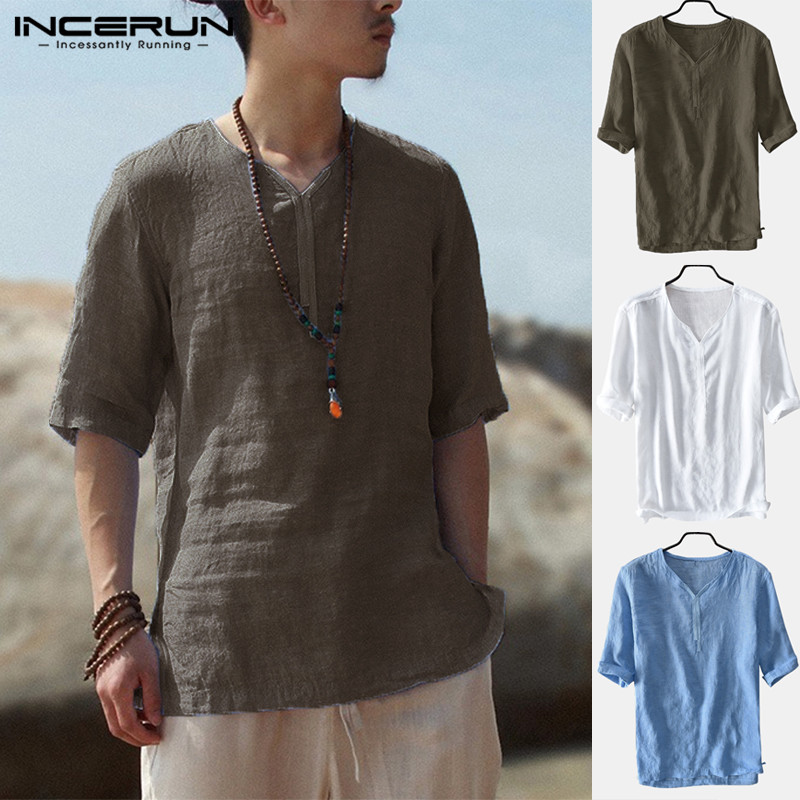 Summer Bohemian Social Men Shirts Pullovers Camisa Hombre Casual Shirt Vintage Half Sleeve V Neck Fashion Men Clothes Chemise