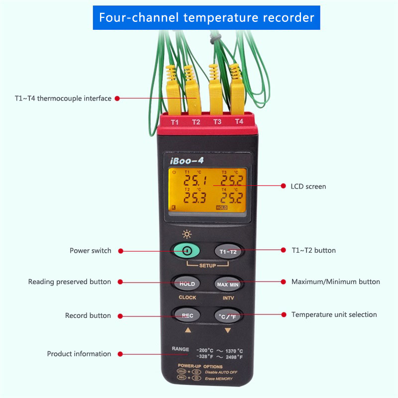 IBoo 4 four channel furnace temperature tracker temperature tester Powder baking paint coating temperature recorder smartLogger in Temperature Instruments from Tools