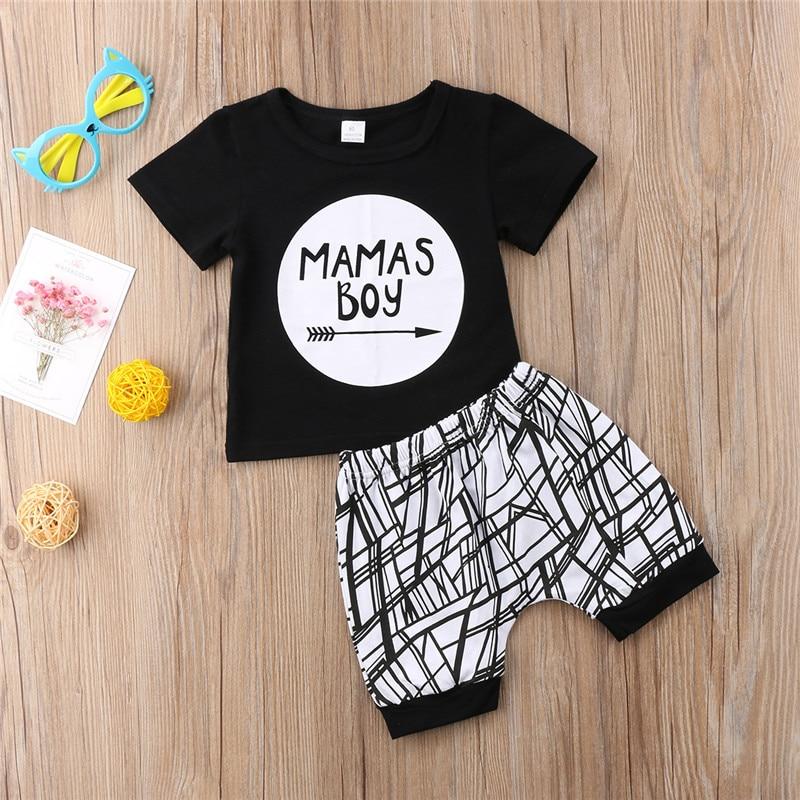 0-24 Months Baby Boys Clothes Set Black Letter Print Tshirt For Boys White Striped Pants Leggings Baby Boys Clothing Newborn Set 2