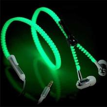 Fashion Glow Headphone Luminous 3.5MM Zipper Earphone Glow In The Dark