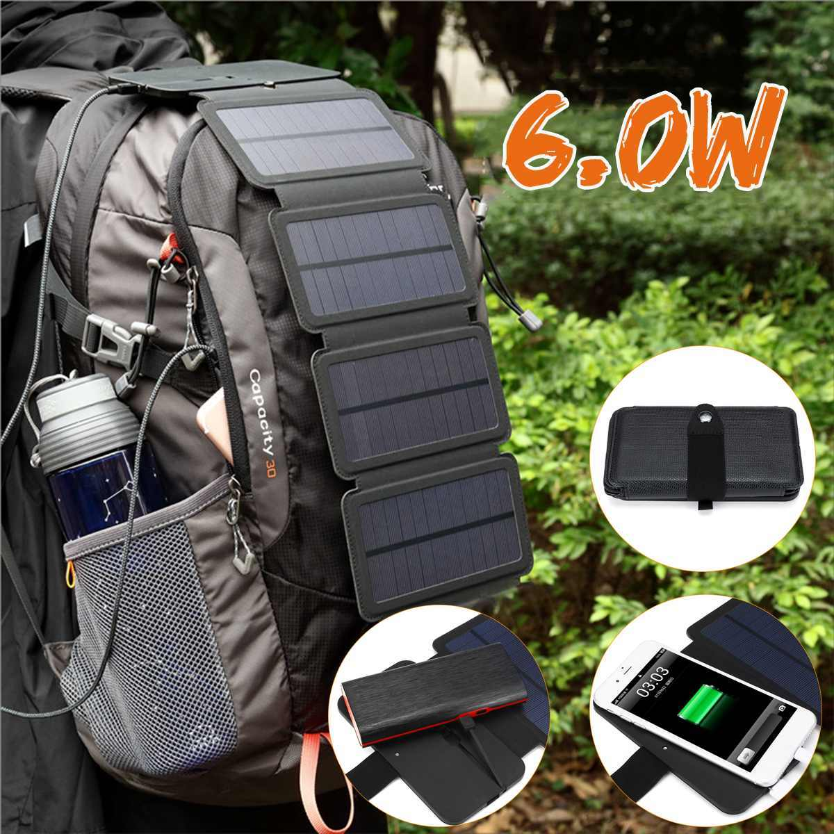 Outdoor Solar Panel Charger Folding USB Type-c Port For Battery Cell Phone Chargers Portable Solar Generator for Smartphone