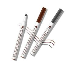 Eyebrow Pencil with 3 Split Heads Dyeing Cream Long - lasting Liquid Texture 3D Makeup