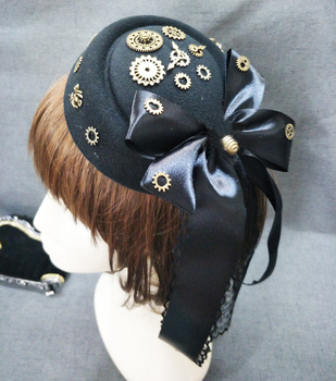 Women Steampunk Fascinator Mini Top Hat Hair Clip Punk Gothic Gears Ribbon Lace Decoration Headwear Hair Accessories Gothic