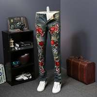 Hip Hop Denim Pants Men Trousers 2019 Fashion Flower Embroidery Men Jeans Summer New Skinny Jeans Men Casual Slim Fit Blue