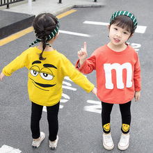 Children's clothing spring and autumn set 2019 cotton new casual long-sleeved letter T-shirt + pants girls clothes 2017 autumn new born baby girls clothing sets infant long sleeved letter cotton t shirt