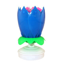 Blooming Lotus Flower Musical Candle Birthday Candle (Blue)(China)