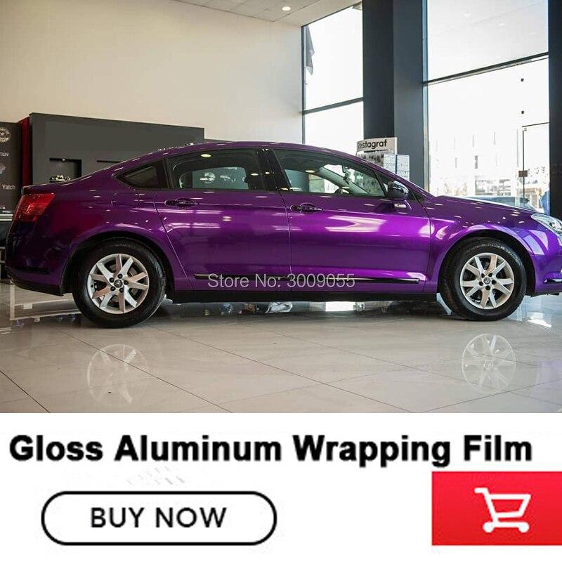 Brillant métallisé violet vinyle Wrap brillant violet métallique vinyle rouleau bulle sans voiture taille d'emballage: 1.52*20 M (5ft * 65ft)