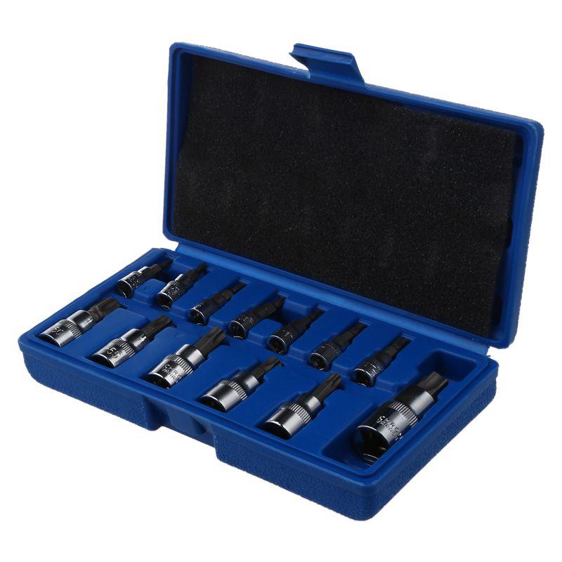 13 Pcs Tamper Proof Torx Stern Bit Socket Set 1/4 3/8 Und 1/2 Zoll Stick T8-t70 At724 FöRderung Der Produktion Von KöRperflüSsigkeit Und Speichel