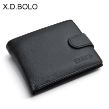 X.D.BOLO Wallet Men Leather Genuine Cow Man Wallets With Coin Pocket Purse leather Money Bag Male Wholesale