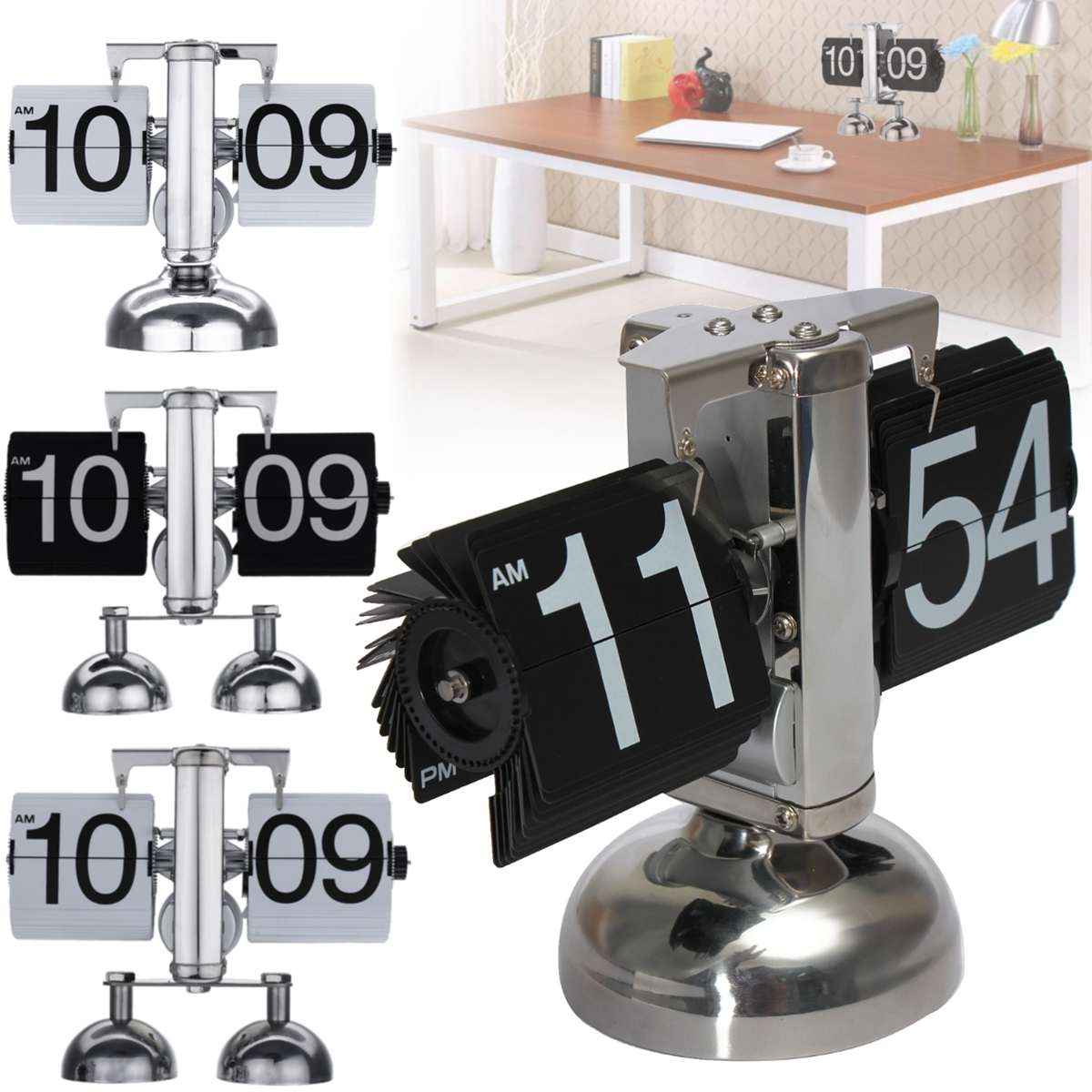 Digital Auto Flip Clock Retro Vintage Style Down Metal Single Double Stand Table Clock Unique automatic flip design Quartz ClockDigital Auto Flip Clock Retro Vintage Style Down Metal Single Double Stand Table Clock Unique automatic flip design Quartz Clock