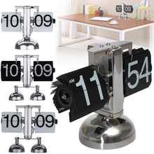 Relógio de mesa de metal único suporte duplo relógio de mesa único design flip automático relógio de quartzo