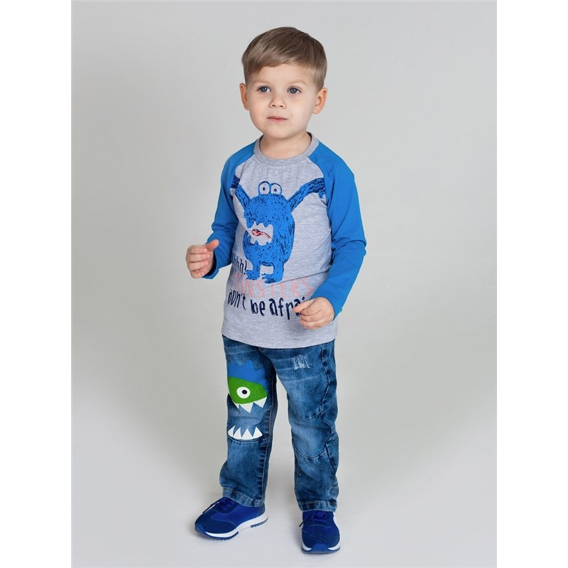 T-Shirts Sweet Berry T-shirt with long sleeves for boys kid clothes grey pocket front round neck long sleeves t shirt