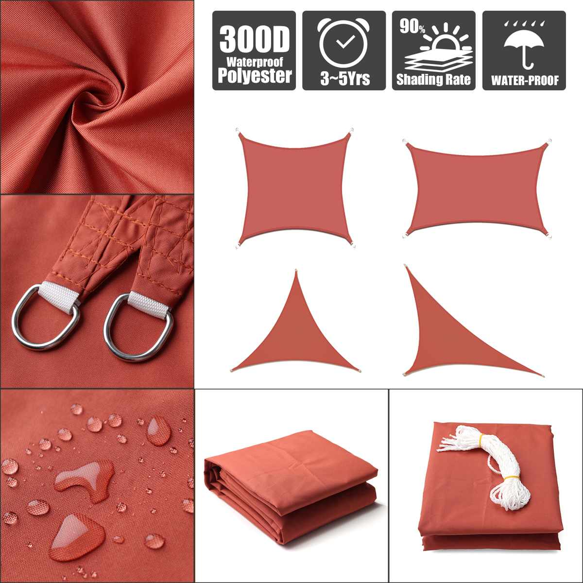 300D Waterproof Polyester Awning Regular Triangle Extra Heavy  Shade Sail Sun Outdoor  Sun Shelter For Garden Camping Tents