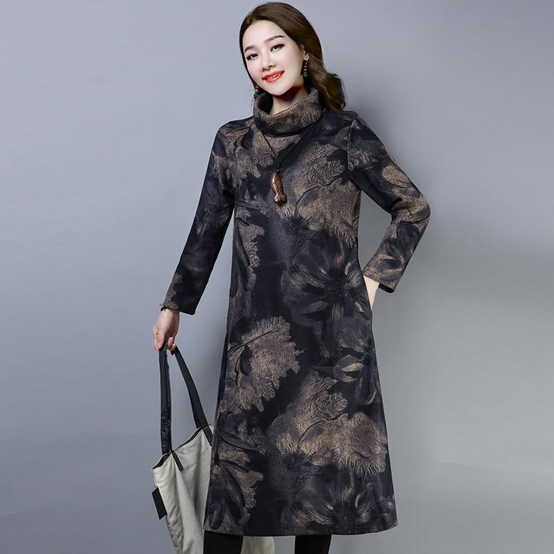 2019 New Women Spring Autumn Dresses Turtleneck Printed Female Long Sleeve Vintage Robe Dress Vestido 53