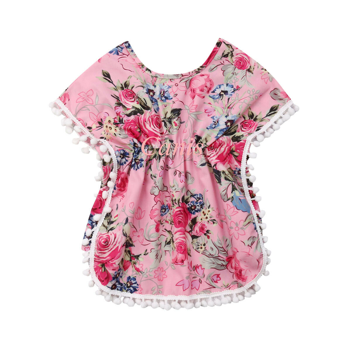 2-7y Sommer Kleinkind Kinder Baby Mädchen Quaste Ball Floral Boho T-shirt T Tops Outfits Bademode Kleidung Angenehme SüßE