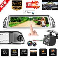 Phisung G900 9.35in FHD 1080P Dual Lens Car DVR Car Rearview Mirror Camera Night Vision Dash Cam G sensor Parking Monitor