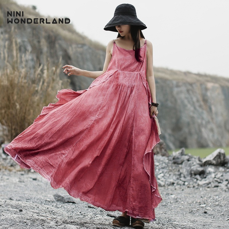 NINI WONDERLAND 2019 Summer Sleeveless Slip Dress Women Cotton Bohemian Boho Maxi Dress Lady Asymmetrical Vintage