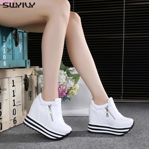 Image 3 - SWYIVY 11cm Wedge Shoes For Woman Sneakers White Shoes 2019 Spring/Autumn New Fashion Womens Footwear Ladies Casual Shoes Black