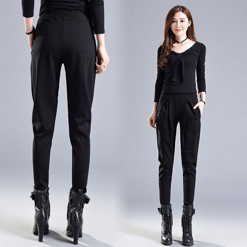 4xl Plus Size Women Pencil Pants Spring Harem Pants High Waisted Black Pants Trousers England Style Elegant Ladies Breeches