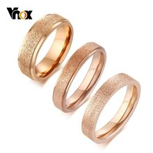 Vnox Elegant 585 Rose Gold Rings for Women Sand Blast Stainless Steel mulheril anel alliance Love Gifts for Her(China)