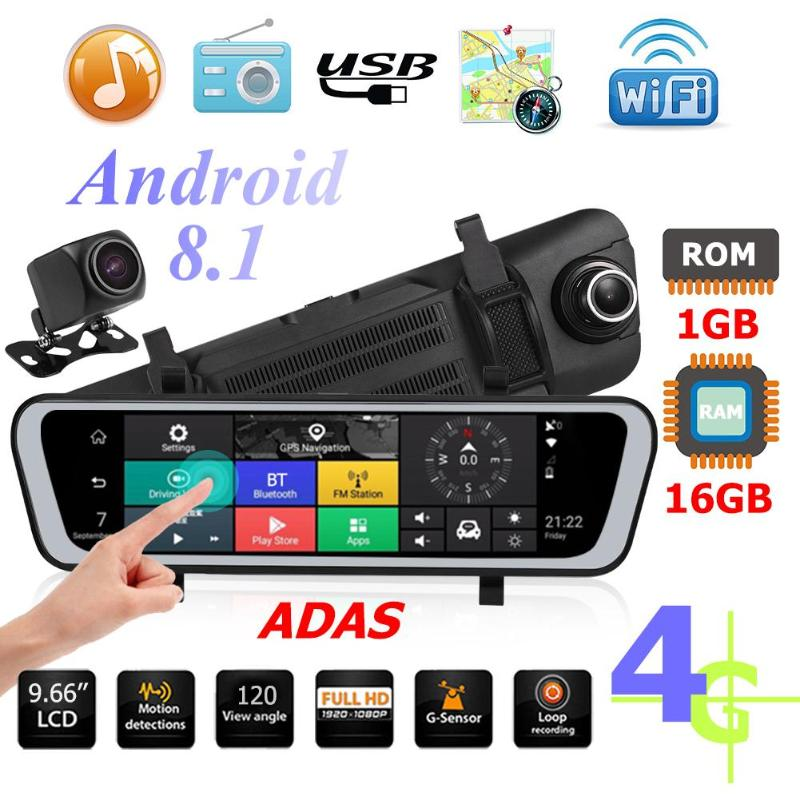 9.66 Inch 4G Android 8.1 Car Rearview Mirror DVR Camera GPS Navigator ADAS Night Vision Dash Cam IPS Touch Screen 1+16GB 1080P