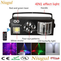 With Wireless Remote Control 4in1 LED Effect Laser Flash Gobo Strobe Butterfly Derby Light DMX512 Auto Sound LED Stage Lights
