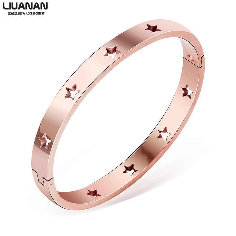 Stainless Steel Bintang Gelang Bintang Gelang Wanita Gelang & Gelang Dalam Silver Warna Rose Gold Fashion Perhiasan