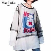 Max LuLu 2019 Fashion Korean Designer Ladies Lace Tops Streetwear Womens Cotton Long T Shirts Printed Clothes Female Sexy Tshirt