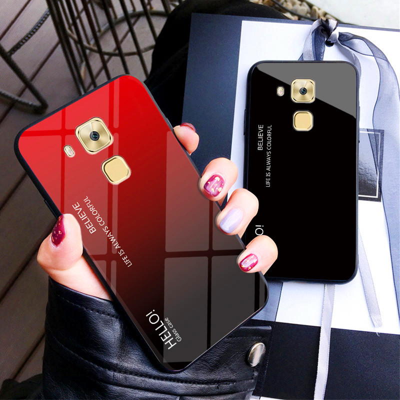 """Huawei Nova Plus MLA L03 L11 Case Gradient Aurora Tempered Glass Back Cover Phone Case For Huawei G9 Plus 5.5"""" Glass Protector"""