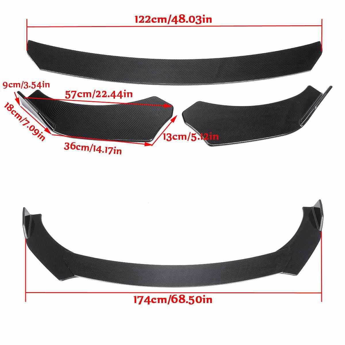 Углеродное волокно вид/черный Универсальный 3 шт. автомобильные Передние Губы подбородок бампер комплекты тела поворот угол новый для Honda Для Civic для Benz