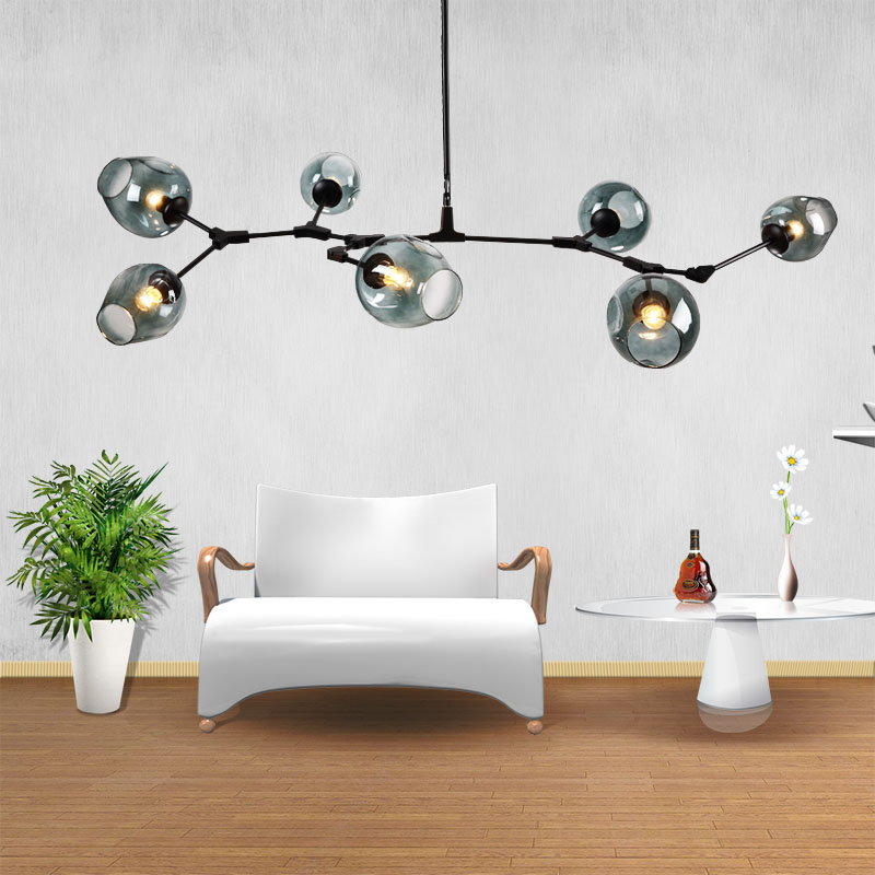 Black Golden Nordic Creative Bubble Ball Pendant Lamp Amber Smoke Gray Glass Sconce DIY Adjustable Living