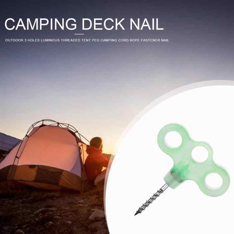Carpa de uñas al aire libre 3 orificios luminosos enroscada tienda de campaña cubierta de acero inoxidable viento de seguridad Noctilucent cuerda sujetador de uñas