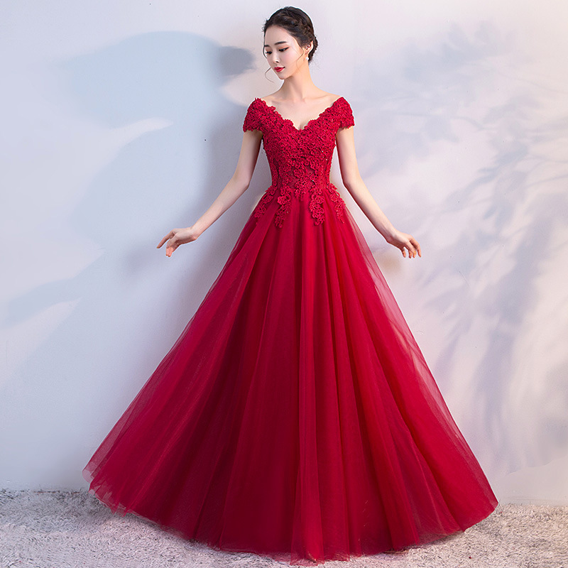Bride Dresses Ball-Gown Vintage Cap-Sleeve Lace-Up Appliques Long New-Arrival Red Beaded