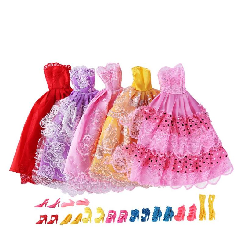 5pcs Multi Layers Princess Dresses 10pairs Shoes for 30cm Dolls Clothes Toys Baby Girl Gifts Accessories For Dolls