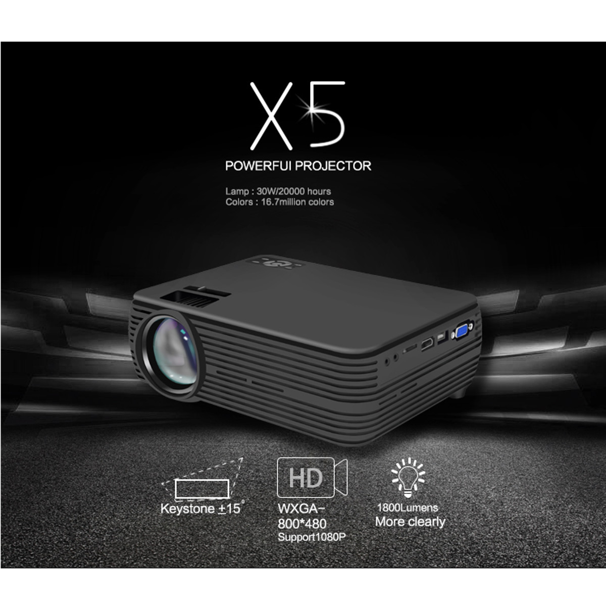Mini Projector <font><b>7000</b></font> <font><b>Lumens</b></font> 1080P FHD Wifi bluetooth Home Theater Android 6.0 X5 Audio Speaker Home Theater Cinema image