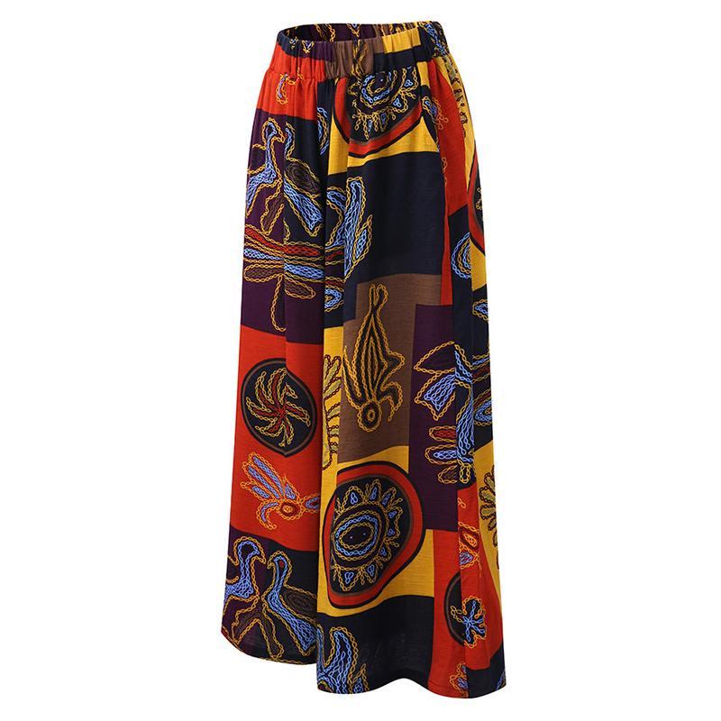 2019 Vintage Floral Print   Wide     Leg     Pants   Women   Pants   Casual Pantalon Femme Linen Long Trousers Streetwear Sweatpants Plus Size
