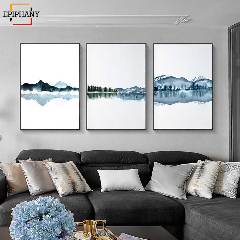Nordic Canvas Poster Watercolor Mountain Landscape Minimalist Print Nature Picture Modern Home Room Painting for Living Room