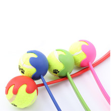 WCIC Pet Toy Dog Puppy Throw Tennis Ball Toy With Handle Interactive Props Playing Toys Throwing Ball(China)