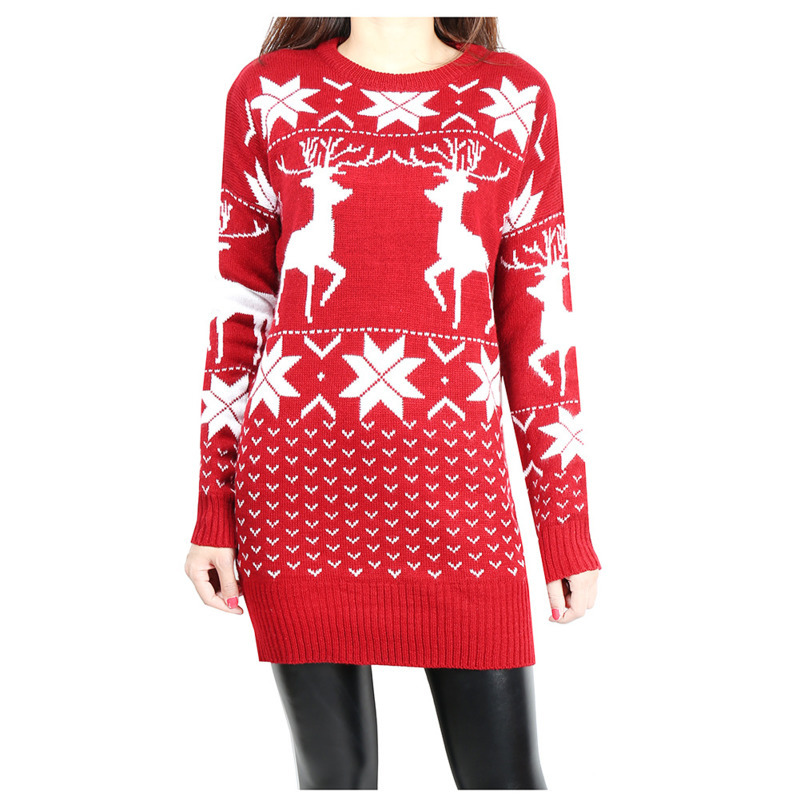 Womens Snowflake Deer Slim Mid-length Christmas Knitwear Wool Womans Fashion Knitted Sweater Ladies Pullover Autumn Winter