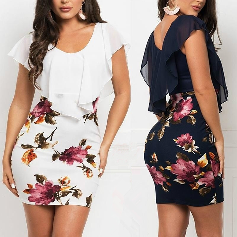 2019 New Style Fake Two pieces Printed Slim Fit Dress Female Package Hip Dress in Dresses from Women 39 s Clothing
