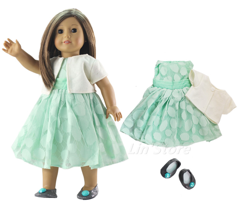 3in1 Set Doll Clothes Outfit Dress+coat+shoes For 18 Inch American Doll