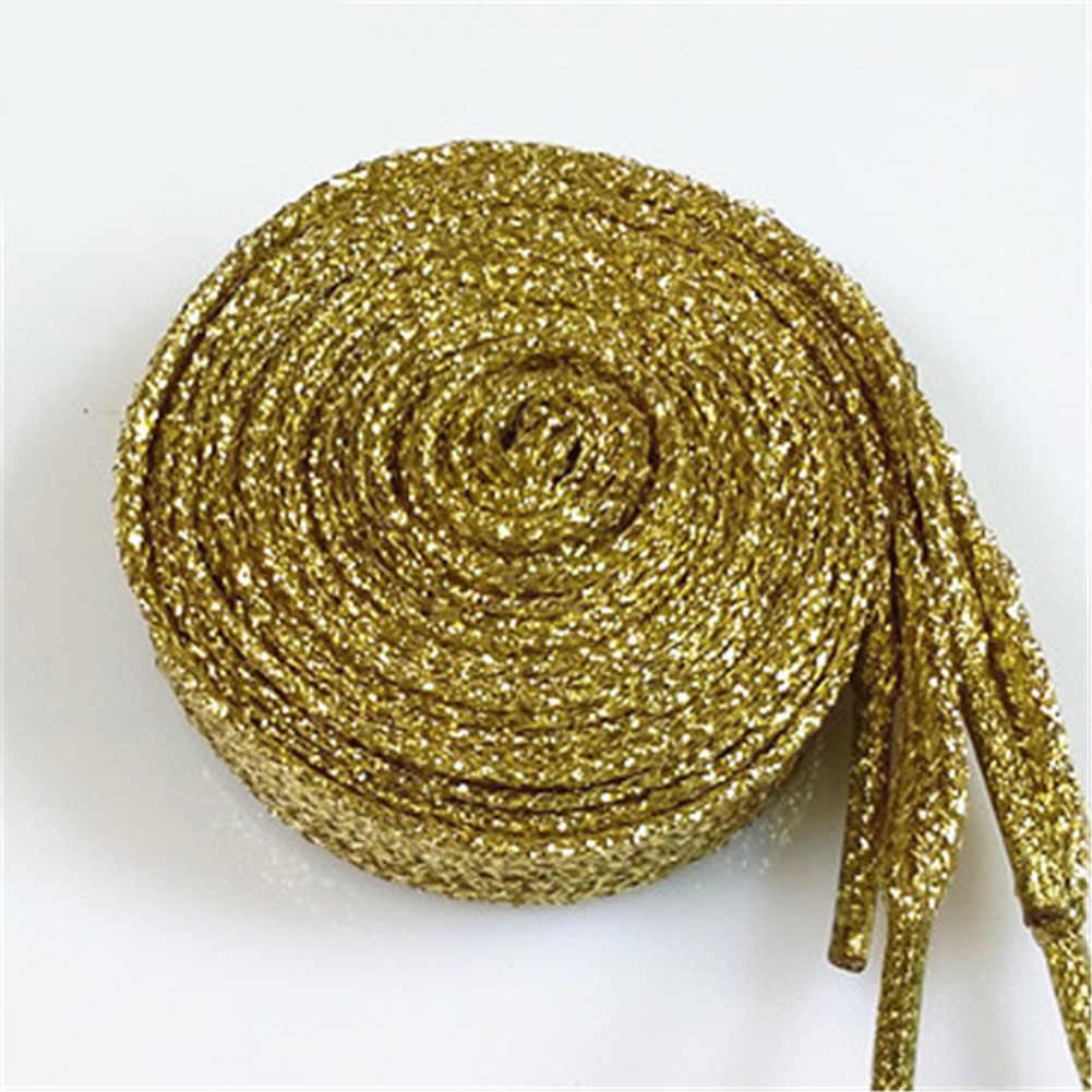 1 זוג מבריק זהב כסף חוט לנעלי נשים גברים מקרית ספורט סניקרס שטוח שרוכי נעלי שרוכי מיתרים