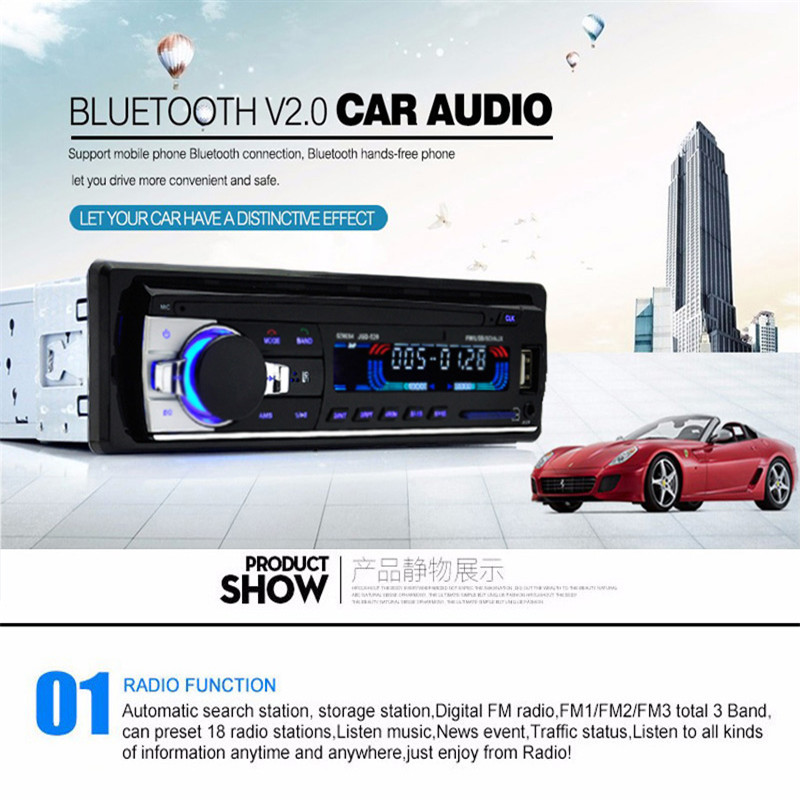 1X Car Bluetooth Radio Stereo Head Unit Player MP3/USB/SD/AUX-IN/FM In-dash 1 Din FM Aux Input With ISO Port Auto Car Accessory