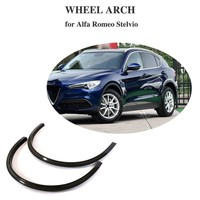 For 2017 2018 Alfa Romeo Stelvio Front Wheel Fender Flares 2pcs Carbon Fiber Arch Mudguards Eyebrow Protector Sticker
