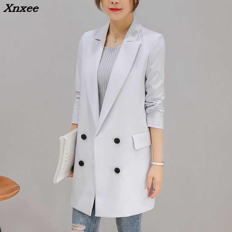 Women long blazer and jackets long sleeve faomal office lady double breasted medium-long style lady suit coat plus size Xnxee