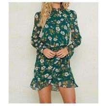 Women Turtleneck Ruffles Floral Bandage Dress Long Sleeve Chiffon Casual Mini Bodycon Party Beach