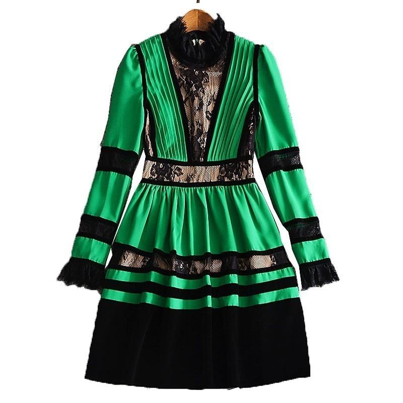 Plissée Dentelle Longues Robe Femmes Dress Patchwork green Lanmrem Dress Be295 Nouveau Taille Parti Femelle Sexy Manches Printemps Black À Pour Grande Robes Mode 2019 ApvnzE6qw
