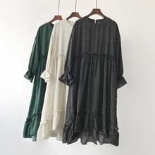 Oversized Loose Autumn Polka Dot Chiffon Midi Dress Casual Women Long Lantern Sleeve Ruffles Mori Girls Vestidos
