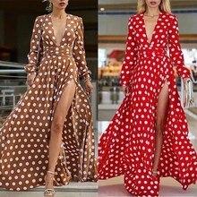 2019 New Summer Women Polka Dots Split Maxi Dresses High Waist Pleated Beach Dress Skinny Big Swing Bohemian Dress polka dots split day dress